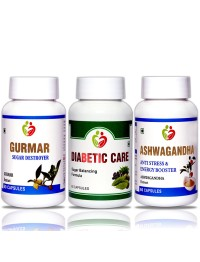 Diabetic Care Combo Pack Gurmar, Diabetic Care, Ashwagandha  Pack of 60 Capsules each