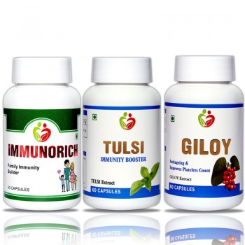 Immunity Care Combo Immunorich, Tulsi, Giloy  Pack of 60 Capsules Each