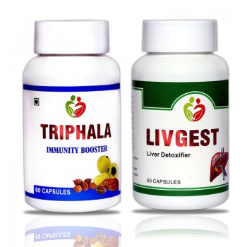 Liver Care Combo Pack (Triphala, Livgest) Pack of 60 Capsules each